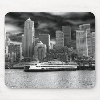 horizon de Seattle noir et blanc Tapis De Souris