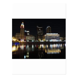 Horizon du centre de Columbus la nuit Cartes Postales