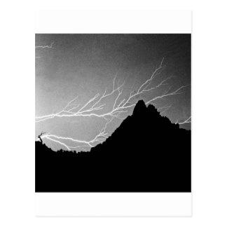 Horizonal Lightning Storm BW Postcard