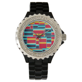 Horizontal and vertical stripes wristwatches