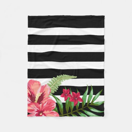 Horizontal Black And White Stripes And Flowers Fleece Blanket