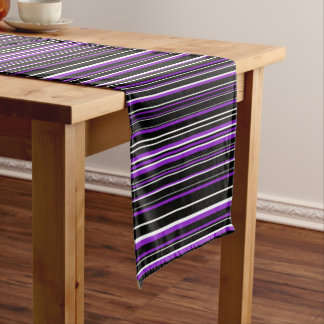 Horizontal Black, Purple, White Barcode Stripe Short Table Runner