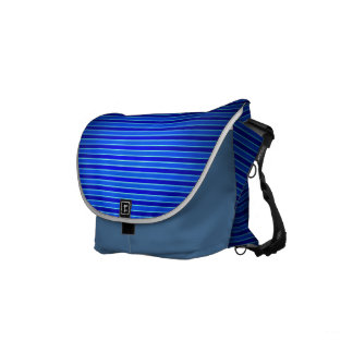 horizontal blue stripes small messenger bag