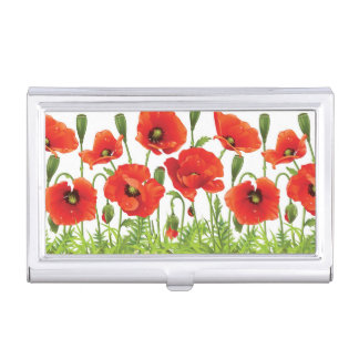 Horizontal border with red poppy business card holder