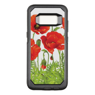 Horizontal border with red poppy OtterBox commuter samsung galaxy s8 case