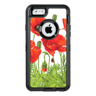 Horizontal border with red poppy OtterBox iPhone 6/6s case