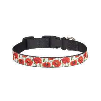Horizontal border with red poppy pet collar