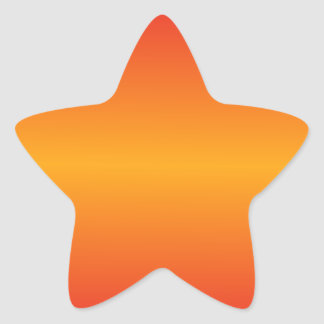 Horizontal Dark Tangerine and Cadmium Red Gradient Star Sticker