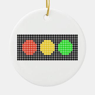 Horizontal Dot Stoplight Ceramic Ornament