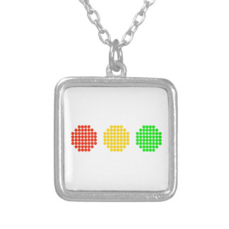 Horizontal Dot Stoplight Colors Silver Plated Necklace