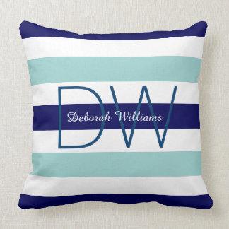 horizontal large blue (2 tones) stripes & monogram throw pillow