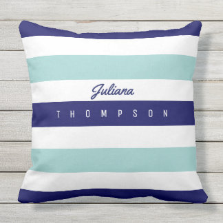 horizontal large blue (2 tones) stripes with name outdoor pillow