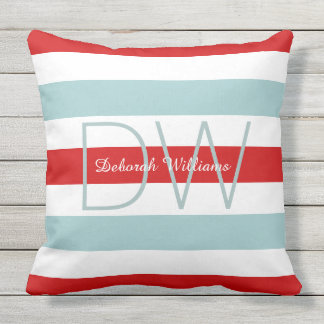 horizontal large blue red stripes & monogram outdoor pillow