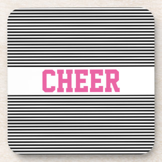Horizontal Lines in Black and White Coaster