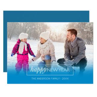 Horizontal Photo Happy New Year Modern Blue Card