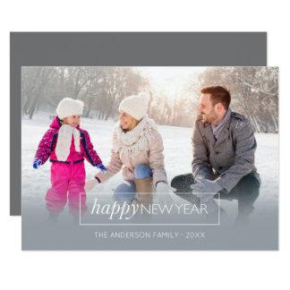 Horizontal Photo Happy New Year Modern Gray Card