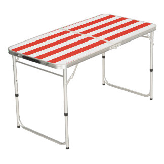 Horizontal Red Stripes Beer Pong Table