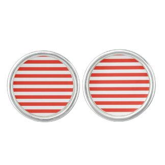 Horizontal Red Stripes Cufflinks