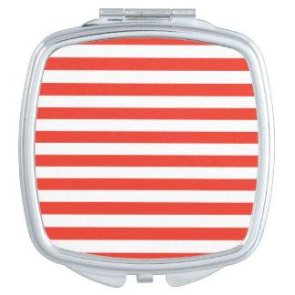 Horizontal Red Stripes Makeup Mirror