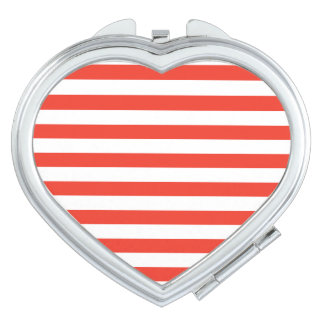 Horizontal Red Stripes Mirror For Makeup