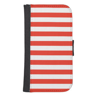 Horizontal Red Stripes Samsung S4 Wallet Case