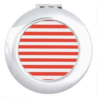 Horizontal Red Stripes Travel Mirror