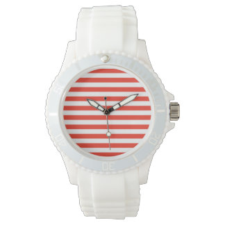 Horizontal Red Stripes Watch