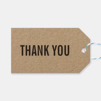 Horizontal Simple Stylish Rustic Thank You Kraft Gift Tags