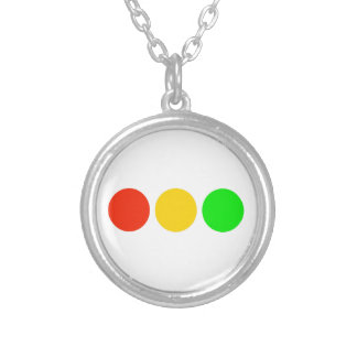Horizontal Stoplight Colors Silver Plated Necklace
