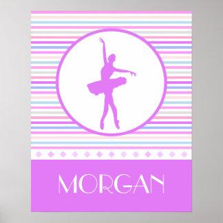 Horizontal Stripes Ballerina Dancer with Monogram Poster