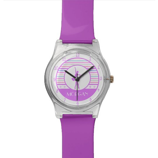 Horizontal Stripes Ballerina Dancer with Monogram Wristwatches