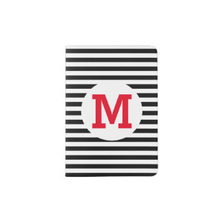 Horizontal Stripes in Black and White Passport Holder
