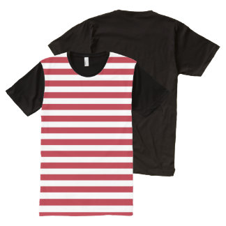 Horizontal Stripes in Red and White All-Over-Print T-Shirt