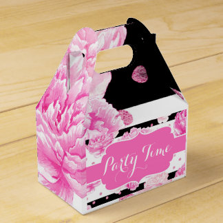 Horizontal Stripes Pink Floral Watercolor Birthday Favor Box
