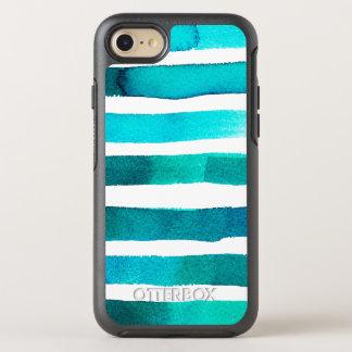 Horizontal Teal Stripes on White OtterBox Symmetry iPhone 8/7 Case