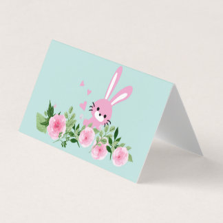 Horizontal Tent Fold Folded Card - rabbit