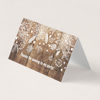 Horizontal Tent Fold Folded Card rustic floral