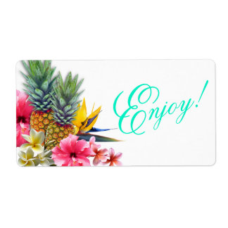 Horizontal Tropical Hawaiian Enjoy Favor Shipping Label