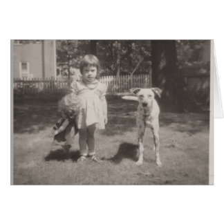 horizontal-vintage card of girl, doll and dog