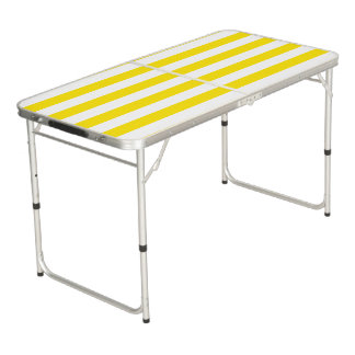 Horizontal Yellow Stripes Beer Pong Table