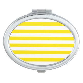 Horizontal Yellow Stripes Makeup Mirror