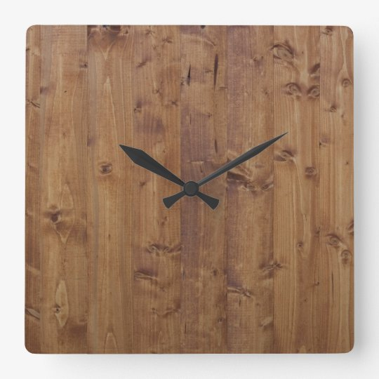 horloge carr e planches en bois corces panneaux mur de grange. Black Bedroom Furniture Sets. Home Design Ideas