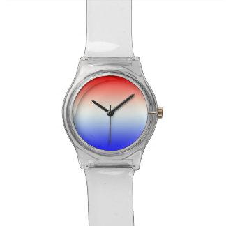 Horloge in rood~wit~blauw wristwatch