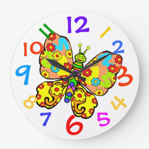 Horloge murale colorée de pièce de Childs de papil