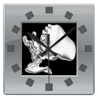 Horloge murale de combattant de chrome