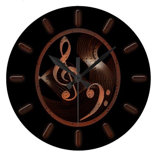 Horloge murale de conception de musique de Steampu