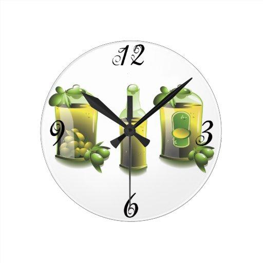 Horloge murale de cuisine d 39 huile d 39 olive zazzle - Horloge murale de cuisine ...