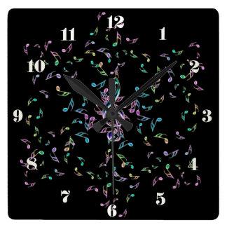 Horloge murale d'étoile de notes de musique