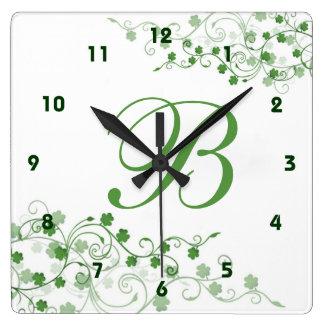 Horloge murale d'Irlandais de trèfle