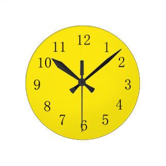 Horloge murale jaune citron lumineuse de cuisine